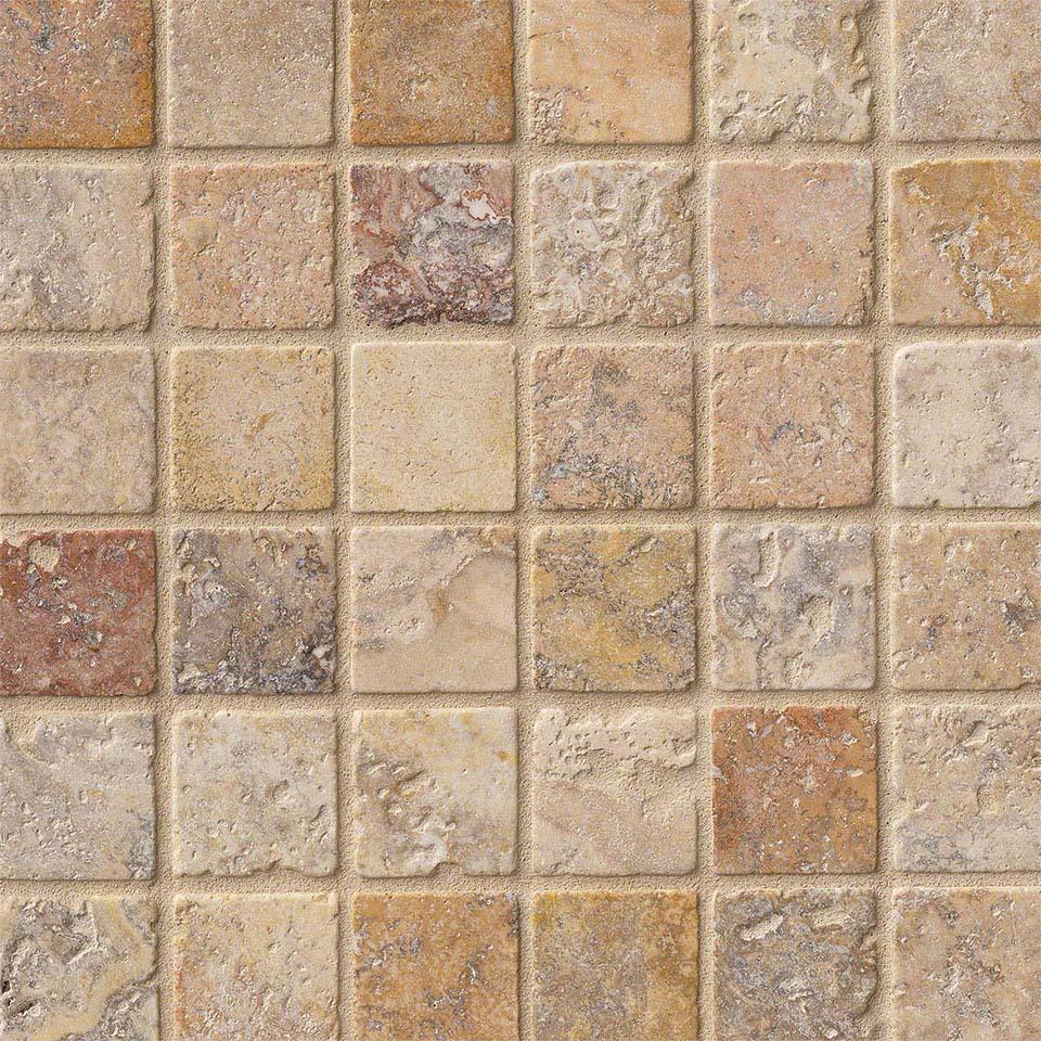 Scabos travertine tile backsplash