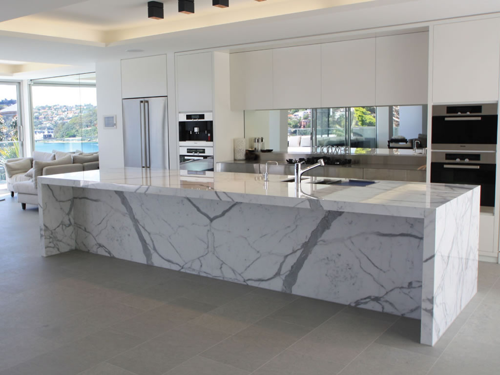 Gray Kitchen Cabinets With Marble Countertops