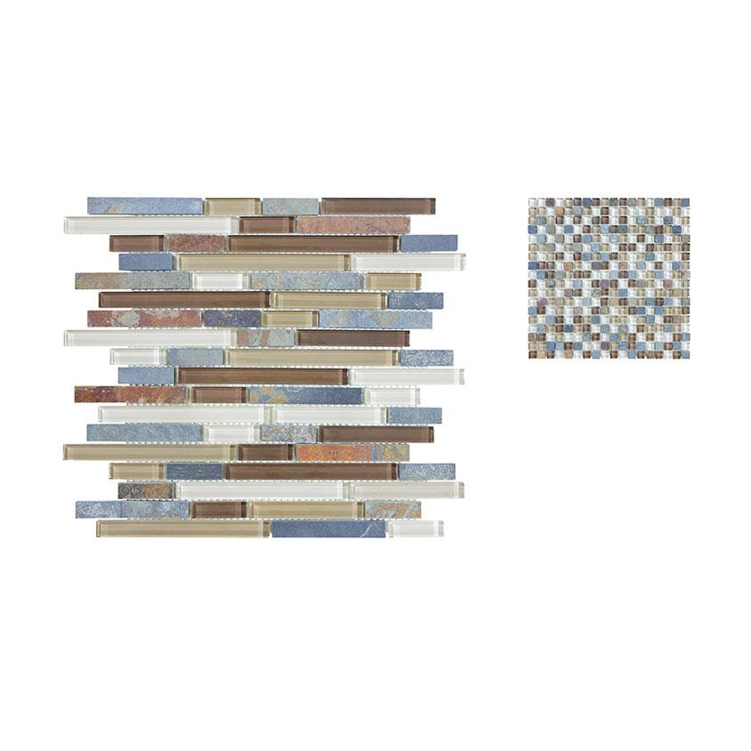 Clear Glass And Slate Java Rustic Granite Countertops