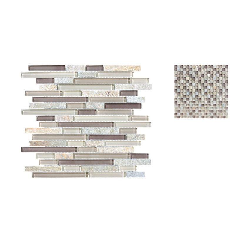 Clear Glass And Slate Seashell Quartz Granite