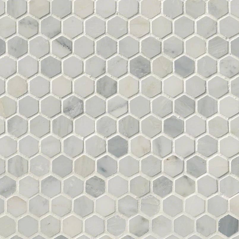 Arabescato Carrara 1 Quot Hexagon Honed In 12x12 Mesh
