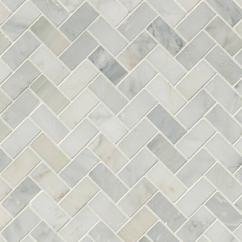 Arabescato Carrara Herringbone Pattern Honed In A Mesh