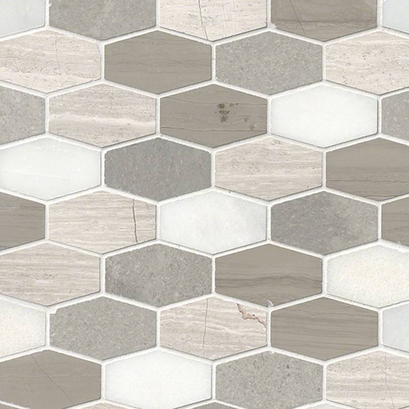 Bellagio Blend Elongated Hexagon Honed Granite