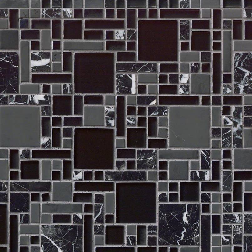 Kitchen Remodel Kent Wa: Black Marble And Glass Mxed Pattern 8mm