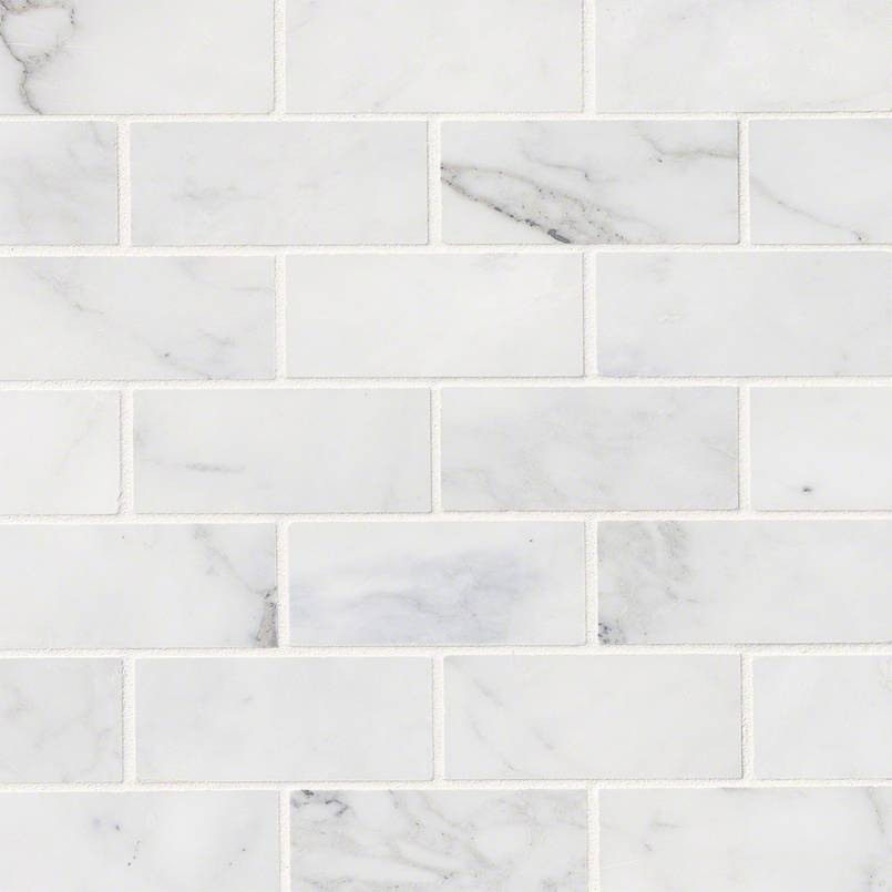Calacatta Cressa White Subway Tile 2x4 Granite
