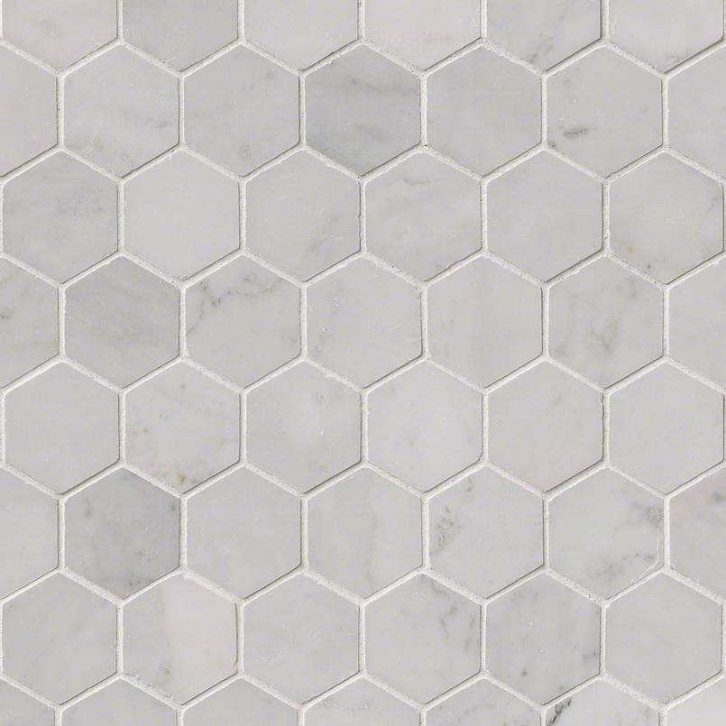 Carrara White Hexagon Polished Granite Countertops Seattle - 2 carrara marble hexagon floors