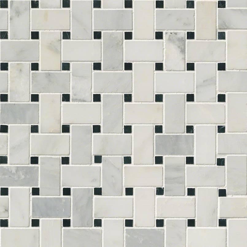 Greecian White Basketweave Pattern Polished Granite