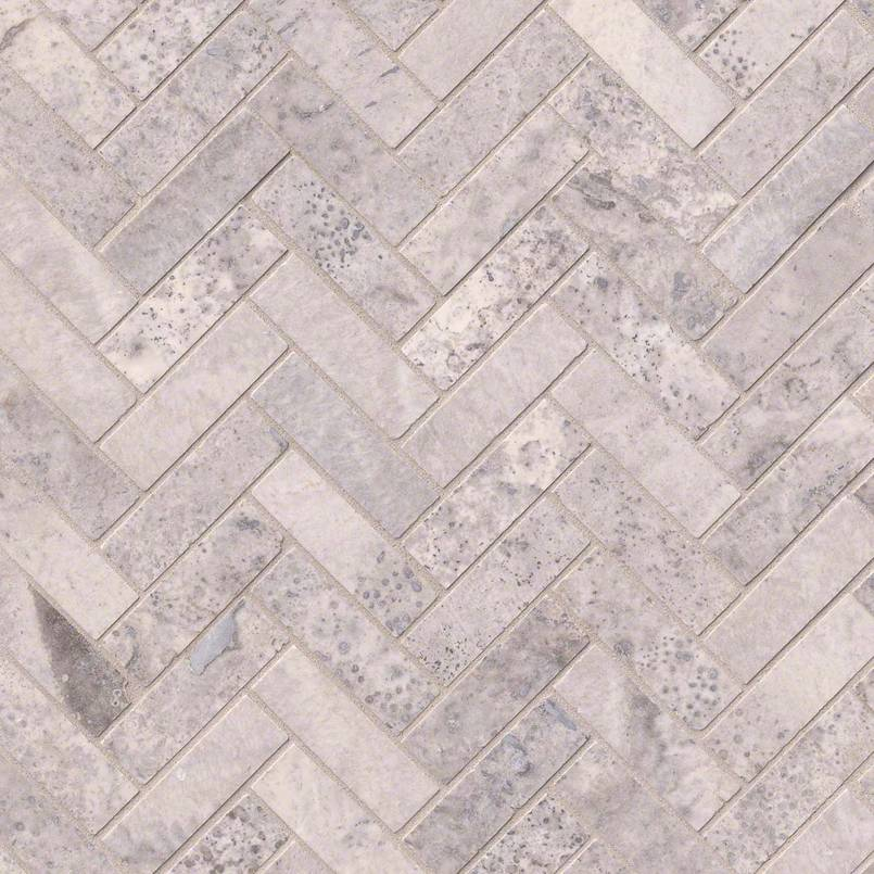 Silver Travertine Herringbone Pattern Honed Granite