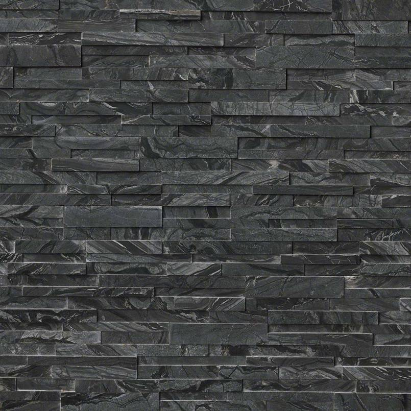 Glacial Black 3d Rockmount Stacked Stone Panels Granite