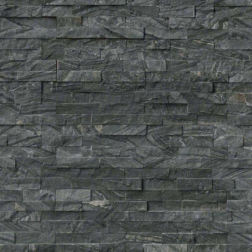 Glacial Black Rockmount Stacked Stone Panels Granite